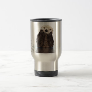 Cute adorable fluffy otter animal stainless steel travel mug