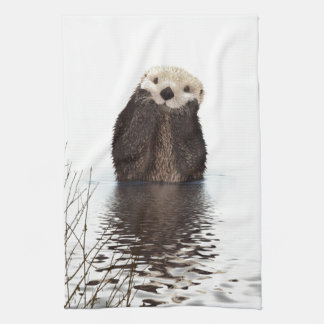 Cute adorable fluffy otter animal tea towel