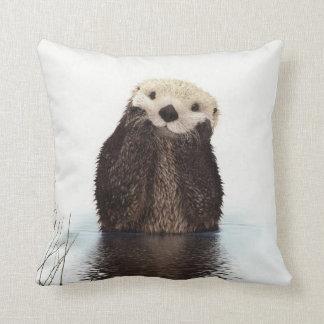 Cute adorable fluffy otter animal throw pillow