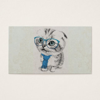 Cute adorable funny trendy kitten animal sketch business card