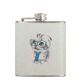 Cute adorable funny trendy kitten animal sketch hip flask
