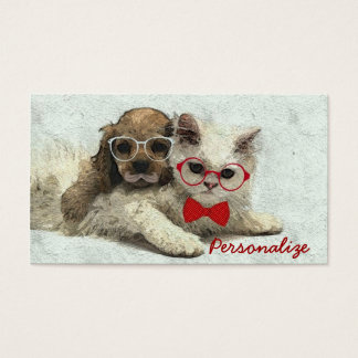 Cute Adorable funny trendy puppy and kitten Business Card