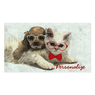 Cute Adorable funny trendy puppy and kitten Pack Of Standard Business Cards