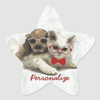 Cute Adorable funny trendy puppy and kitten Star Stickers