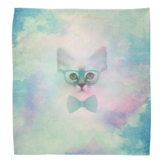 Cute adorable funny watercolours kitten glasses bandana