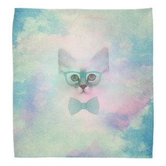 Cute adorable funny watercolours kitten glasses bandana