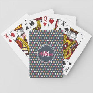 Cute adorable girly colourful  monogram polka dots poker deck