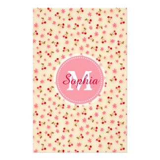 Cute adorable girly monogram cherries and flowers stationery