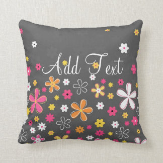 Cute adorable girly trendy hand drawn floral cushion
