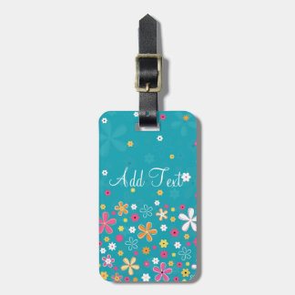 Cute adorable girly trendy hand drawn floral luggage tag