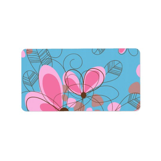 Cute adorable girly trendy hand painted flowers address label