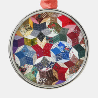 Cute adorable girly vintage patched quilt stars christmas ornament