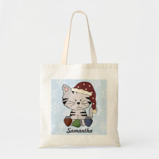 Cute Adorable Grey Kitten Holding Christmas Lights Tote Bags