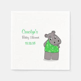 Cute Adorable Hippo / Green Dress Napkin Disposable Napkin