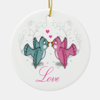 Cute adorable Love birds pink blue swirls flowers Christmas Ornament