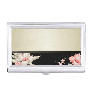 Cute Adorable Modern  Flowers Business Card Holder