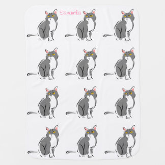 Cute Adorable Pink Gray Kitty Cats Optional Name Baby Blanket