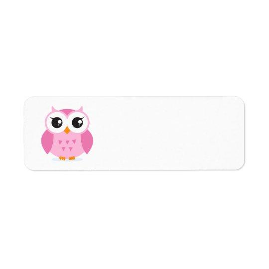 Cute adorable pink owl animal cartoon for kids