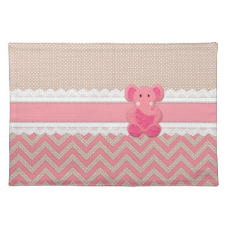 Cute adorable pink Paisleys elephant white lace Placemat