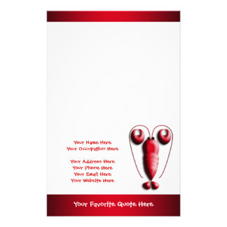 Cute Adorable Red Lobster Heart-Shaped Pincers Customised Stationery