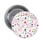 Cute adorable smiley music notes flowers 6 cm round badge