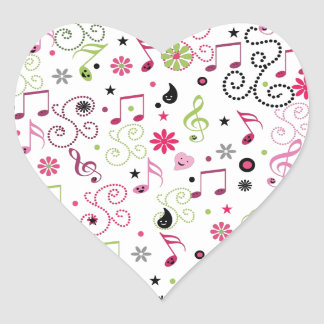 Cute adorable smiley music notes flowers heart sticker