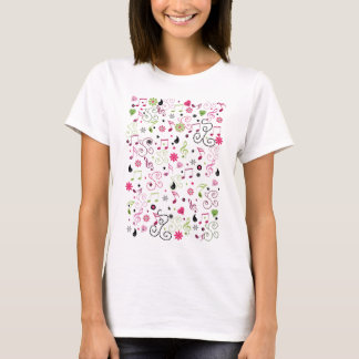 Cute adorable smiley music notes flowers T-Shirt