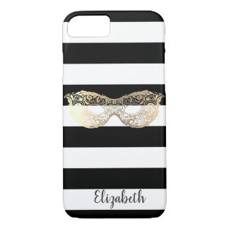Cute Adorable Striped,Gold Mask-Personalized iPhone 8/7 Case