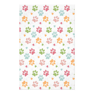 Cute adorable trendy animal paws print and hearts personalised stationery