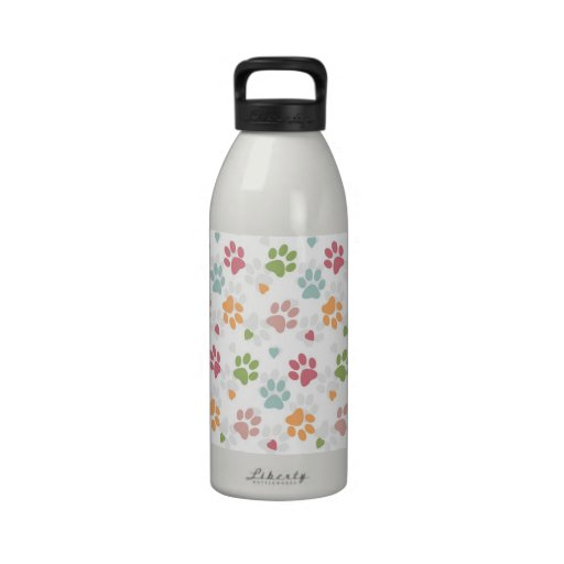 Cute adorable trendy animal paws print and hearts water bottle