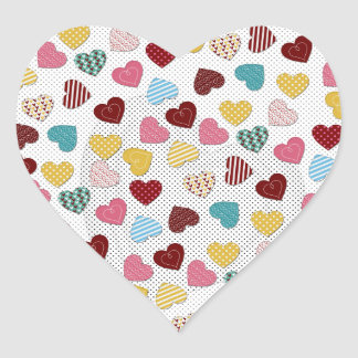 Cute adorable trendy hearts pattern heart sticker