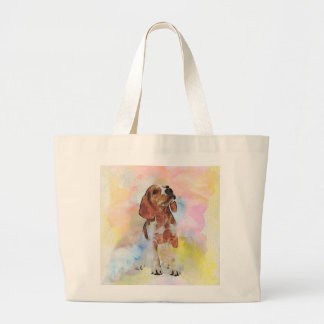Cute adorable trendy puppy animal dog watercolours large tote bag