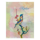 Cute adorable vintage watercolours  bird floral poster