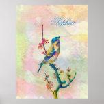 Cute adorable vintage watercolours  bird floral poster