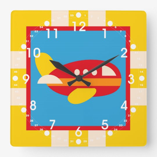 Cute Aeroplane Transportation Theme Kids Gifts Square Wall