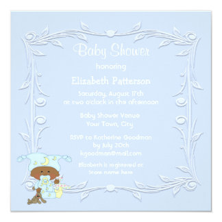 Cute African American Baby Boy Blue Baby Shower 5.25x5.25 Square Paper Invitation Card