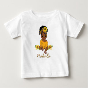Cute African American Baby Girl Sunflower Floral   Baby T-Shirt