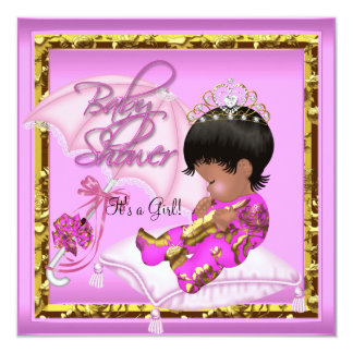 Cute African American Baby Shower Pink Gold 13 Cm X 13 Cm Square Invitation Card