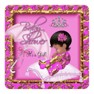 Cute African American Baby Shower Pink Gold 2 13 Cm X 13 Cm Square Invitation Card