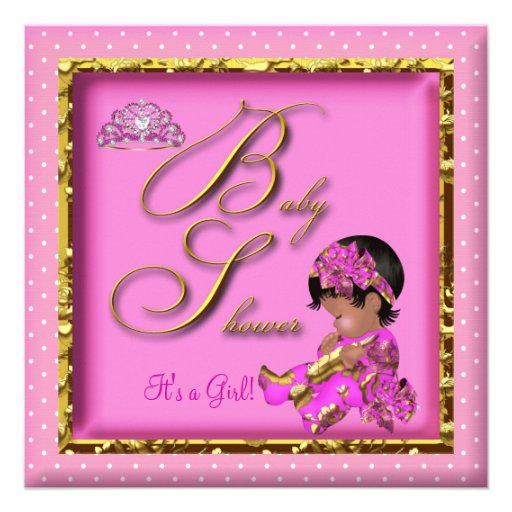Cute African American Baby Shower Pink Gold Announcements