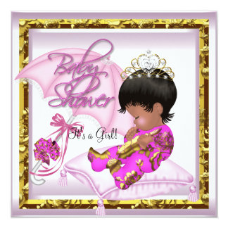 Cute African American Baby Shower Pink Gold Personalized Announcement