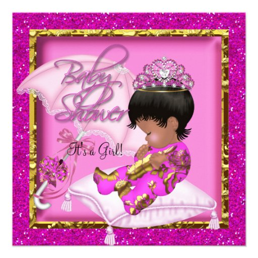 Cute African American Baby Shower Pink Gold Custom Invites