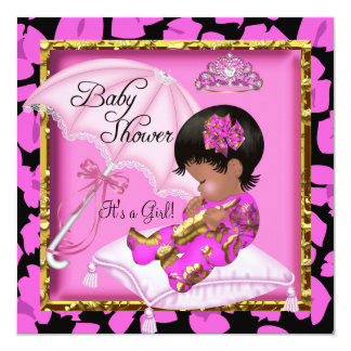 Cute African American Baby Shower Pink Leopard 13 Cm X 13 Cm Square Invitation Card
