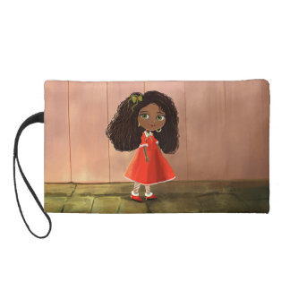 cute African American cartoon girl Bagettes Bag Wristlet Clutch