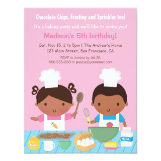 Cute African American Cooking Birthday Party 11 Cm X 14 Cm Invitation Card
