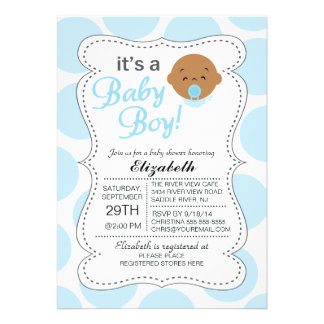 Cute African American It s a Baby Boy Baby Shower Announcements