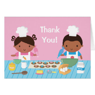 Cute African American Kids Cooking Thank You Note Card