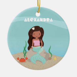 Cute African American Little Mermaid Girl Ornament