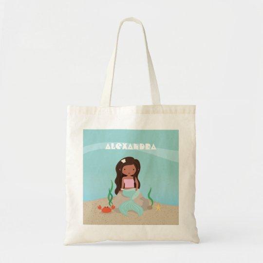Cute African American Mermaid Girl Tote Bag
