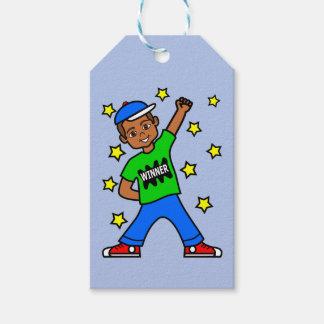 Cute African American Winner Boy Gift Tag